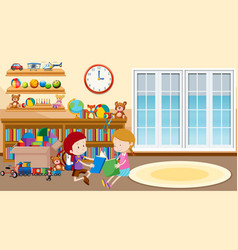 Scene with boy and girl reading in room vector