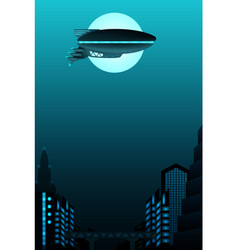 Science fiction poster design zeppelin in front vector
