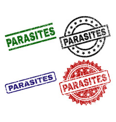 scratched textured parasites stamp seals vector image