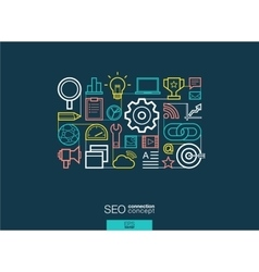 SEO integrated thin line symbols Modern linear vector image