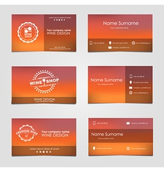 set business cards for wine vector image
