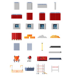 set construction materials and equipment vector image