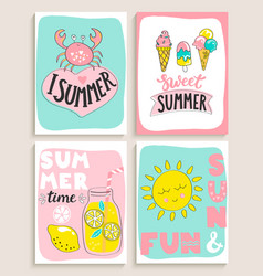set of 4 bright summer cards vector image