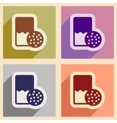 Set of flat icons with shadow glass milk and vector
