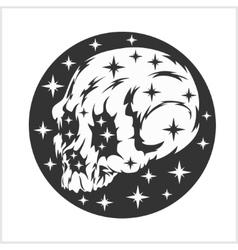 Skull on night starry sky vector