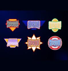 sport emblem typography set super boy hero vector image