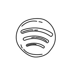 Spotify icon doodle hand drawn or black outline vector
