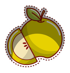 sticker green apple fruit icon stock vector image