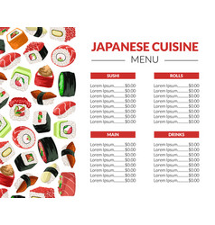 sushi menu template for restaurant bar or cafe vector image