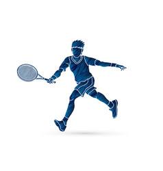 tennis player running man play tennis movement vector image