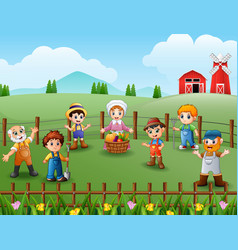 the farmers gathered in the fields vector image