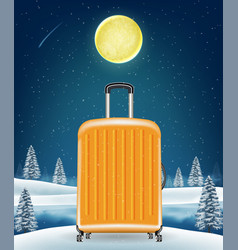 travel luggage bag on winter lake background vector image