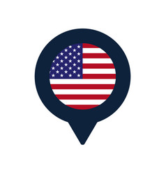 usa flag and map pointer icon national flag vector image