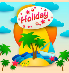 vacation on the island postcard vector image