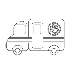 Veterinary ambulance icon in outline style vector