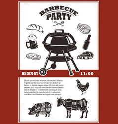 Vintage bbq party poster template grill steak vector