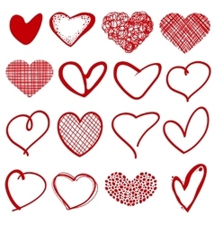 Vintage outline hand drawn sketchy hearts vector image