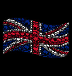 Waving united kingdom flag pattern of island vector