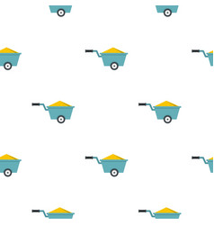 Wheelbarrow full of sand pattern flat vector