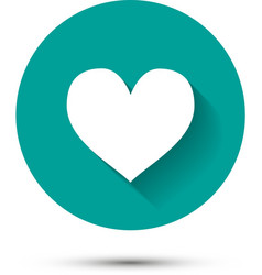 White heart icon on green background with shadow vector image