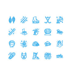 Winter sports flat line icons outdoor vector