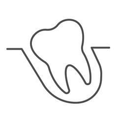 Wisdom tooth thin line icon malocclusion problem vector