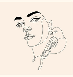 Woman line drawing face with bird and flowers vector