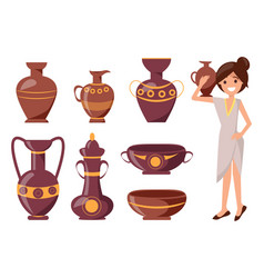 Woman posing with clay vase vector