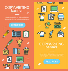 writer and copywriting signs banner vecrtical set vector image