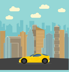 yellow sports car in the city vector image