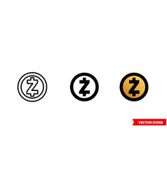 zcash icon 3 types color black and white vector image