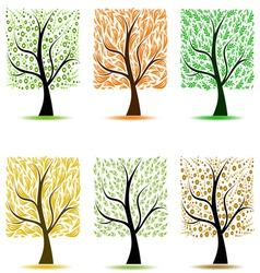 abstract art trees collection on white background vector image