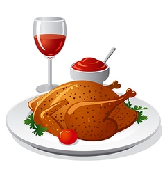 grilled chicken and wine vector image vector image