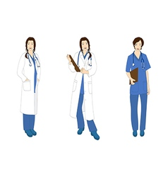 Medical Staff Woman Full Body Asian Color vector image vector image