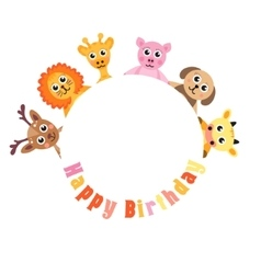 Postcard Happy Birthday cute animals Blank space vector image