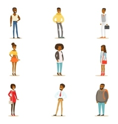Afro-american black people street style clothing vector