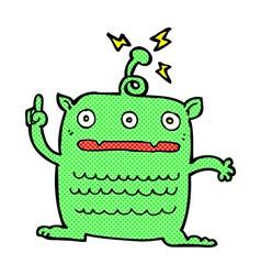 comic cartoon weird little alien vector image vector image