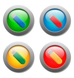 Flash card icon set on glass buttons vector image