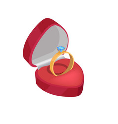 gold engagement ring with blue diamond in red box vector image
