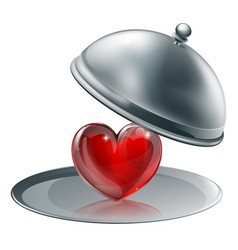 heart on a silver platter vector image vector image