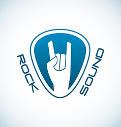 Rock hand logo template with plectrum shape vector image