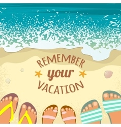 Summer background with sea sand beach sandals vector image vector image