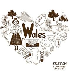 Wales symbols in heart shape concept vector image