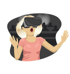 young woman with virtual reality goggles in cinema vector image
