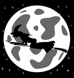 black and white style icon of witch on broomstick vector image