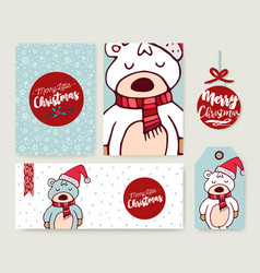 christmas card set holiday bear cartoon template vector image