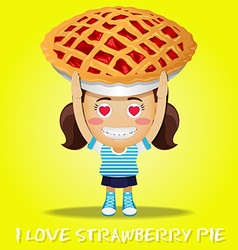 happy woman carrying big strawberry pie vector image