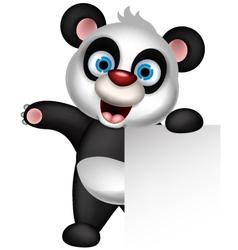 panda cartoon holding blank sign vector image vector image