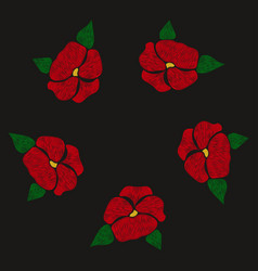 red flowers embroidered on a black background vector image