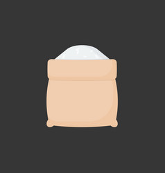 rice in opened sackcloth bag flat icon vector image